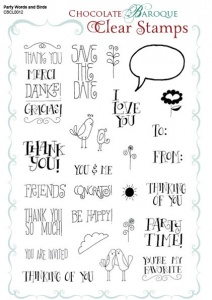 Party Words and Birds Clear stamp sheet -  A5