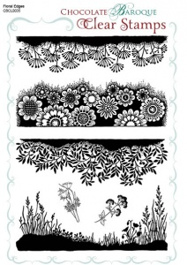 Floral Edges Clear stamp sheet -  A5