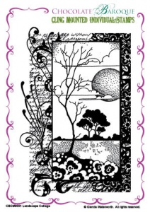 Landscape Collage cling mounted rubber stamp
