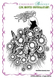 Butterfly Dress cling mounted rubber stamp