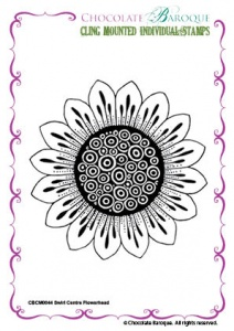 Swirl Centre Flowerhead cling mounted rubber stamp