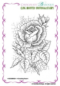 Crackling Rose Individual cling mounted rubber stamp