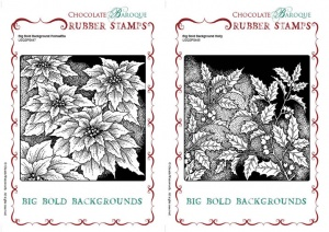 Big Bold Backgrounds Poinsettia-Holly Rubber stamps Multi-buy
