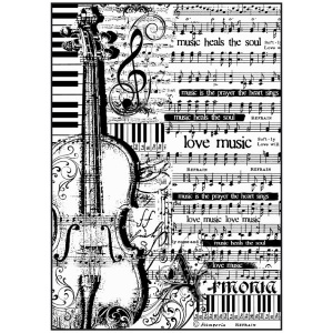 Stamperia A4 Rice Paper - Sheet Music with Violin (black & white print)