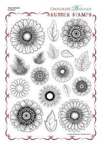 Sunny Sunflowers Rubber stamp sheet - A4