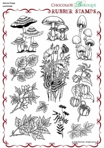 Autumn Poppy Rubber stamp sheet - A4