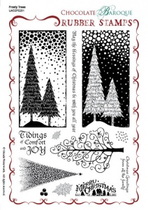 Frosty Trees Rubber stamp sheet - A5