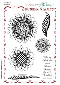 Fresh Blooms Rubber Stamp Sheet - A5