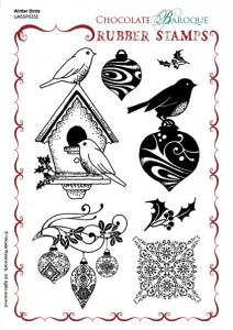 Winter Birds Rubber stamp sheet - A5