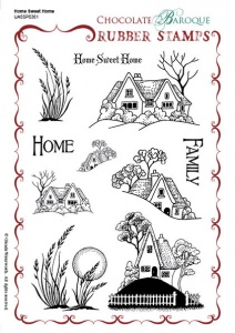 Home Sweet Home Rubber stamp sheet - A5