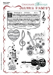 Music Fanfare Rubber stamp sheet - A5