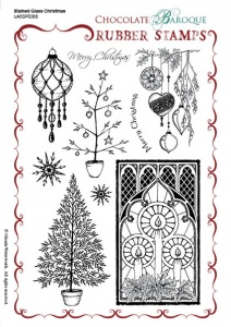 Stained Glass Christmas Rubber Stamp sheet - A5