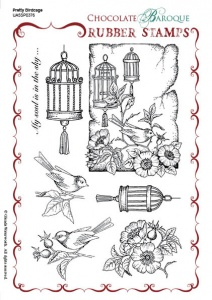 Pretty Birdcage Rubber Stamp sheet - A5