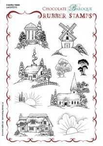 Country Views Rubber Stamp sheet - A5