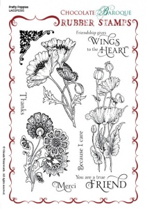 Pretty Poppies Rubber stamp sheet - A5