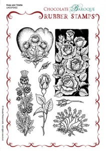 Rose and Thistle Rubber stamp sheet - A5