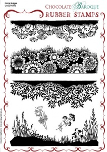 Floral Edges Rubber stamp sheet - A5