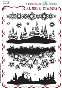 Winter Edges Rubber stamp sheet - A5