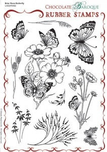 Briar Rose Butterfly Rubber stamp sheet - A5