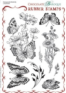 Honeysuckle Butterfly Rubber stamp sheet - A5