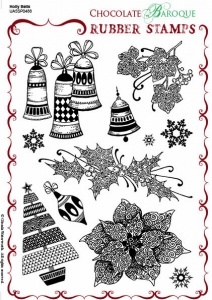 Holly Bells Rubber stamp sheet - A5