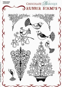 Turtle Doves Rubber stamp sheet - A5