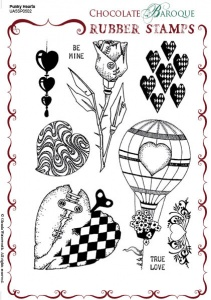 Punky Hearts Rubber stamp sheet - A5
