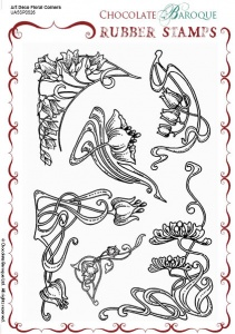 Art Deco Floral Corners  Rubber Stamp sheet - A5