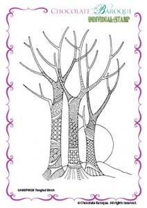 Tangled Birch Single Rubber stamp  - A6