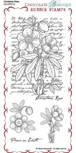 Christmas Rose Script Rubber Stamp Sheet - DL