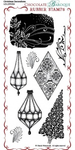 Christmas Decorations Rubber Stamp Sheet - DL
