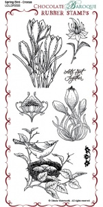 Spring Bird Crocus Rubber Stamp sheet - DL