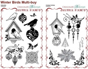 Christmas Tweetings/Winter Birds Rubber stamps Multi-buy - A5
