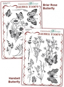Briar Rose Butterfly/Harebell Butterfly Rubber stamps Multi-buy - A5