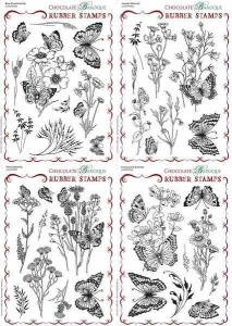 Briar Rose, Harebell, Thistle and Honeysuckle Butterfly Quartet Rubber stamps Multi-buy - A5