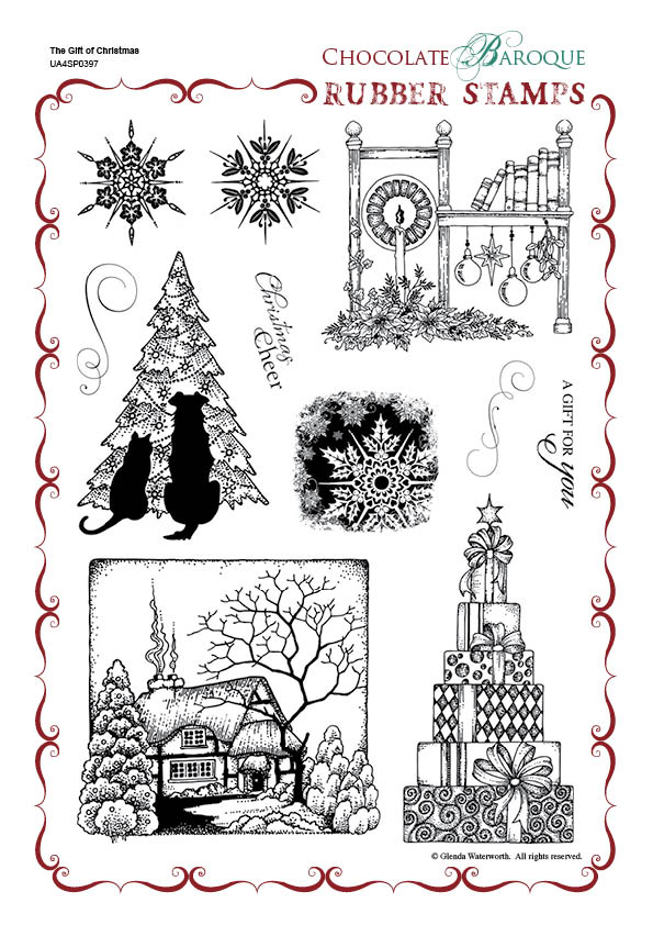The Gift Of Christmas Rubber Stamp Sheet A4 Chocolate