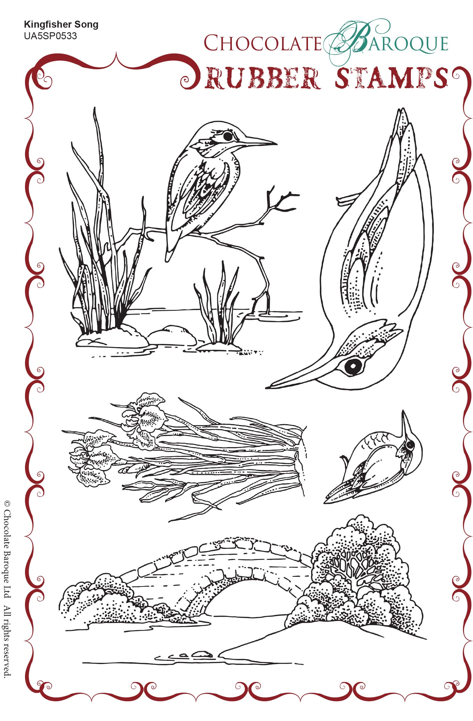 Kingfisher Song Rubber Stamp sheet - A5 - Chocolate Baroque