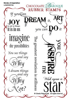 Words Of Inspiration Rubber Stamp Sheet A6 Chocolate