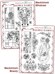 Mackintosh Windows/Mackintosh Beauty Rubber stamps Multi-buy - A5