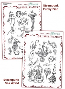 Steampunk Funky Fish/Steampunk Sea World Rubber stamps Multi-buy - A5