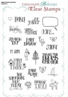 Happy Words and Birds Clear stamp sheet -  A5