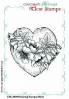 Flowering Baroque Heart Single Clear stamp