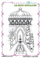 Fountain Scene cling mounted rubber stamp
