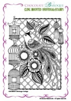 Birdcage Collage cling mounted rubber stamp