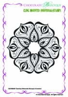 Teardrop Silhouette Baroque Ornament Individual cling mounted rubber stamp