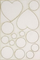 Chocolate Baroque White Board Shapes - Hearts and Circles