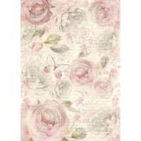 Stamperia A4 Rice Paper - Shabby Roses