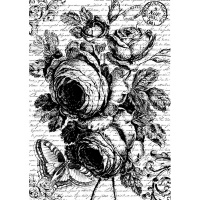Stamperia A4 Rice Paper - Rose (black & white print)