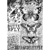Stamperia A4 Rice Paper - Butterfly (black & white print)