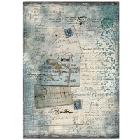 Stamperia A4 Rice Paper - Blue Postcards with lace